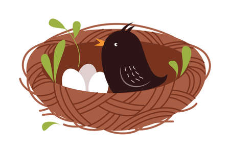 Cute Little Bird as Forest Habitant Sitting in Nest Vector Illustration