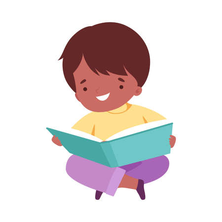 Little Boy Reading Book, Cute Kid Sitting on Floor with Crossed Legs Enjoying Reading of Literature, Education and Imagination Concept Cartoon Style Vector Illustration