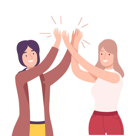 Happy Women Giving High Five to Each Other Vector Illustration
