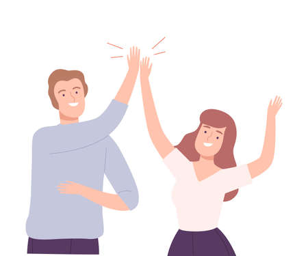 Happy Man and Woman Giving High Five to Each Other Vector Illustration