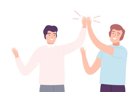 Happy Men Giving High Five to Each Other Vector Illustration