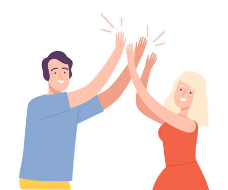 Excited Man and Woman Giving High Five to Each Other Vector Illustration