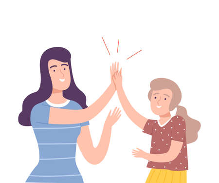 Young Woman Giving High Five to Girl Vector Illustration