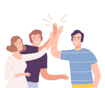 Group of Smiling People Characters Sliding Hands as High Five Gesture Vector Illustration