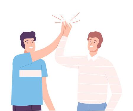 Smiling Males Sliding Hands as High Five Gesture Vector Illustration