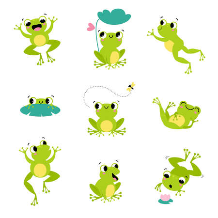 Cute Green Frog Smiling, Jumping, and Croaking Vector Set