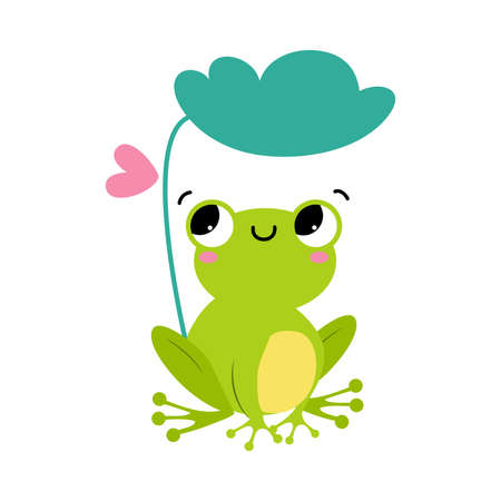 Funny Green Frog with Protruding Eyes Sitting Under Leaf Vector Illustration
