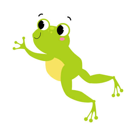 Cute Green Frog with Protruding Eyes Jumping Vector Illustration 向量圖像