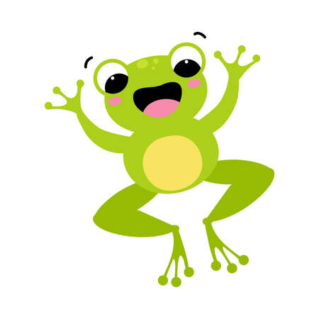 Cute Green Frog with Protruding Eyes Jumping Vector Illustration