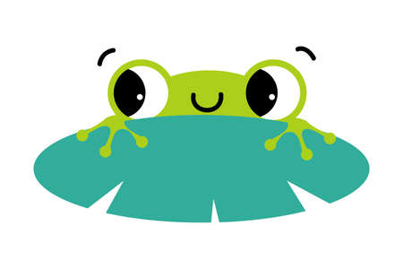 Funny Green Frog with Protruding Eyes Peeping Out from Leaf Vector Illustration