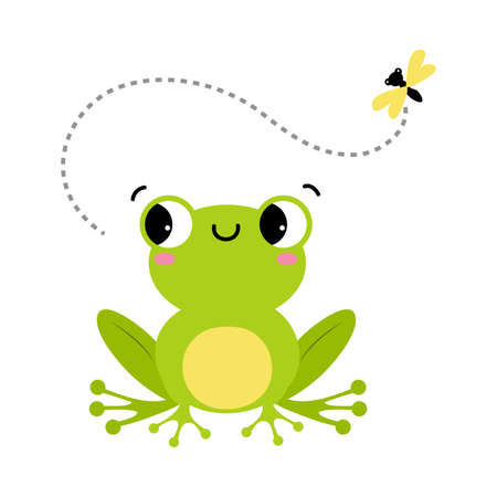 Green Frog with Protruding Eyes Watching Fly Vector Illustration