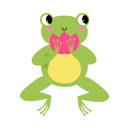 Funny Green Frog with Protruding Eyes Holding Waterlily Flower Vector Illustration