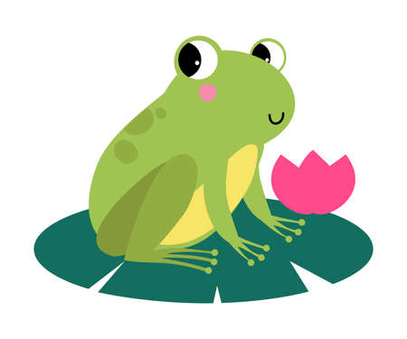 Funny Green Frog with Protruding Eyes Sitting on Leaf of Waterlily Flower Vector Illustration
