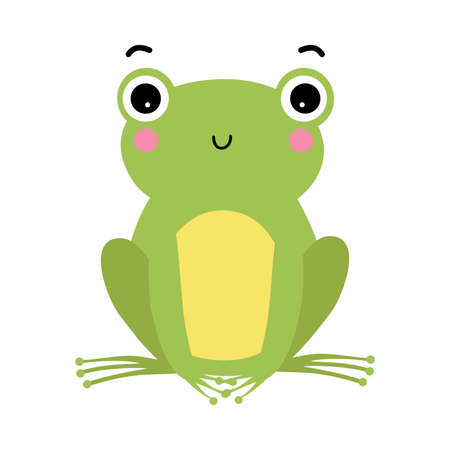 Green Frog with Protruding Eyes Sitting and Smiling Vector Illustration