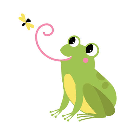 Green Frog with Protruding Eyes Catching Fly with Its Long Tongue Vector Illustration