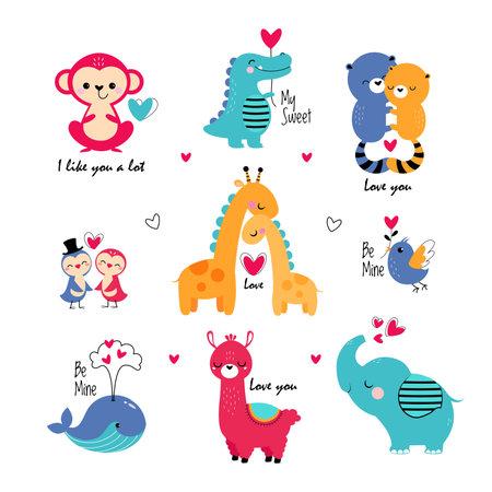Cute Animals in Love Celebrating Valentine Day Vector Set