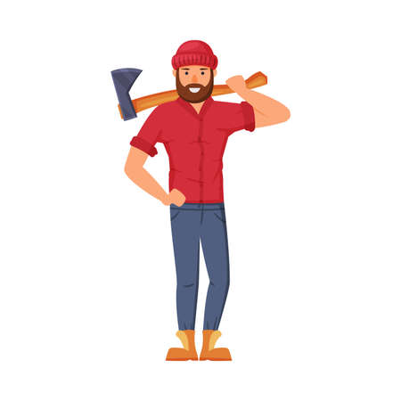 Man Lumberjack in Red Shirt Standing with Wood Chopper on His Shoulder Vector Illustration