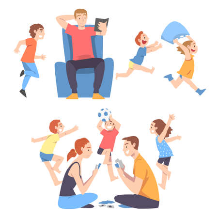 Calm Parents and Mischievous Children Running around Them Set, Father and Mother Playing Board Game and Relaxing among Running Naughty Kids Cartoon Style Vector Illustration