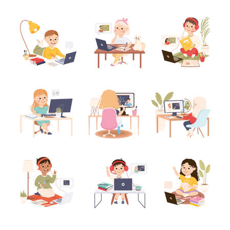 Kids Sitting at Desk and Studying Online Using Computers Set, Homeschooling, Distance Learning Concept Cartoon Style Vector Illustration