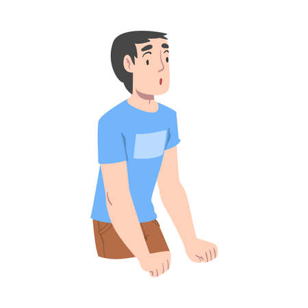 Shocked Boy, Emotional Reaction, Surprised and Amazed Person Character Cartoon Style Vector Illustration