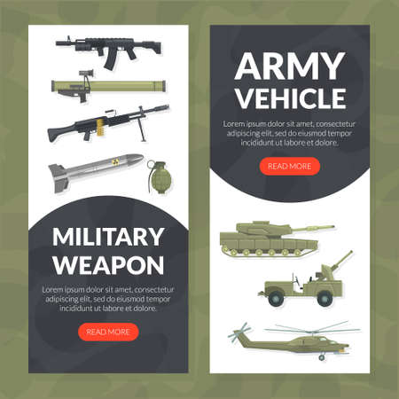 Military Weapon Landing Page Template, Army Vehicle Website Interface Flat Vector Illustration 向量圖像
