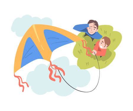 Dad and Son Playing Kite Outdoors, Top View of Cheerful Man and Boy Watching at Flying Kite Cartoon Style Vector Illustration Illusztráció