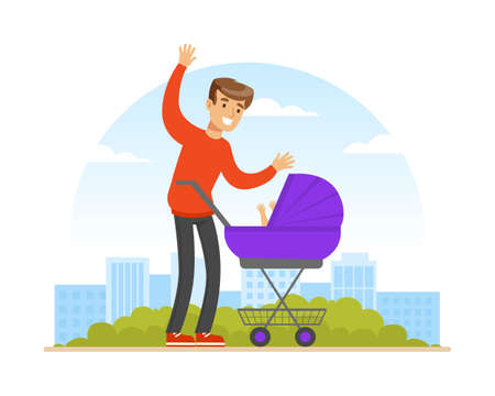 Young Man Parent Walking Outdoor with Baby Carriage Vector Illustration