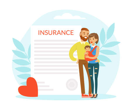 Young Man and Woman Holding Little Baby in Arms with Insurance Document Behind Vector Illustration Illusztráció
