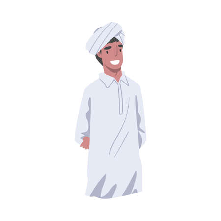 Young Smiling Man Wearing Turban in Standing Pose Vector Illustration