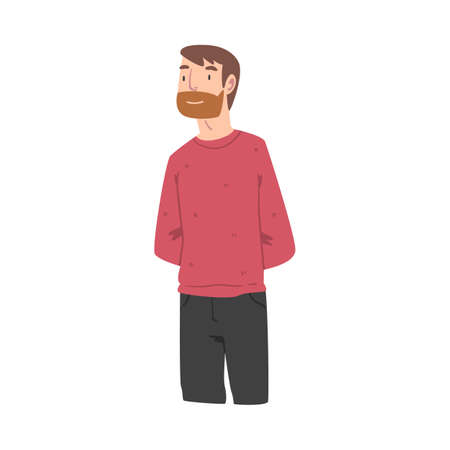 Bearded Male of European Appearance in Sweater Standing and Smiling Vector Illustration
