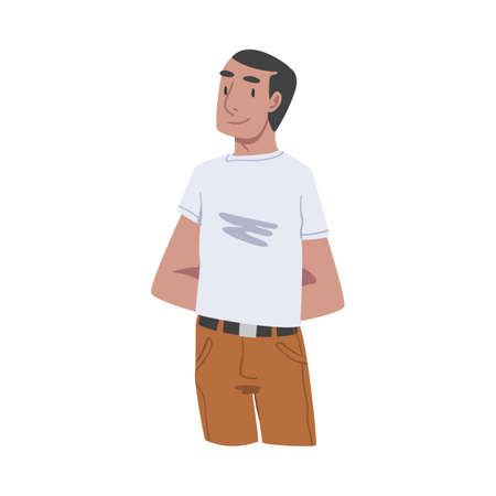 Young Tawny Smiling Man in Standing Pose Vector Illustration