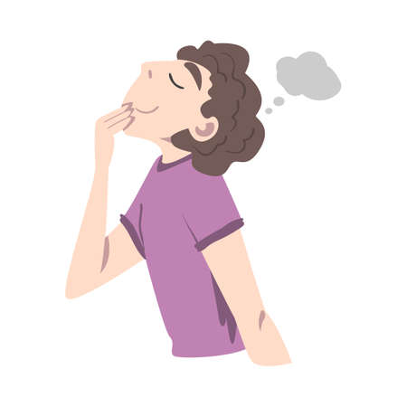 Young Man Looking Up Dreaming and Fantasizing Imagining Something in His Head Vector Illustration