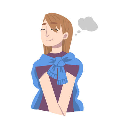 Dreaming Woman Fantasizing Imagining Something in Her Head Vector Illustration