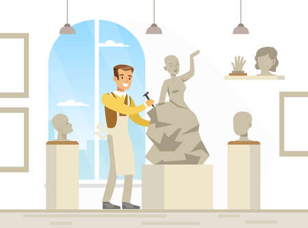 Young Man in Apron Engaged in Sculptural Arts Vector Illustration