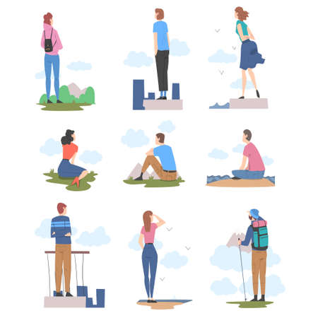 People Characters Looking Ahead as into Bright Future Vector Illustration Set Vecteurs