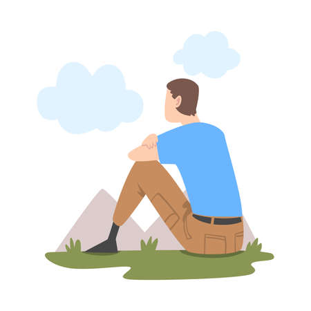 Man Character Sitting and Looking Ahead as into Bright Future Vector Illustration