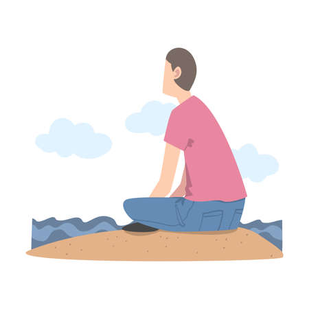 Man Character Sitting at Shore and Looking Ahead as into Bright Future Vector Illustration Vektorové ilustrace