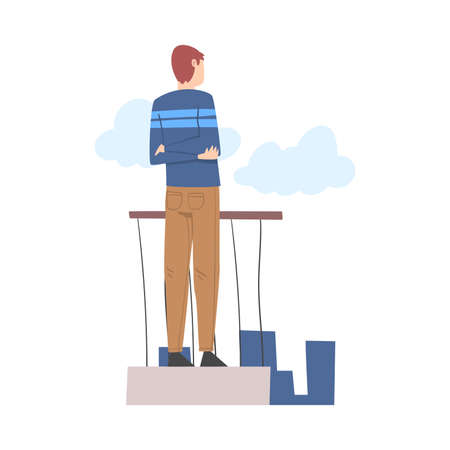 Man Character Standing and Looking Ahead as into Bright Future Vector Illustration