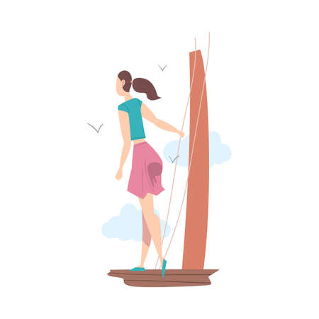 Standing at Deck Girl Looking Ahead as into Bright Future Vector Illustration Vektorové ilustrace