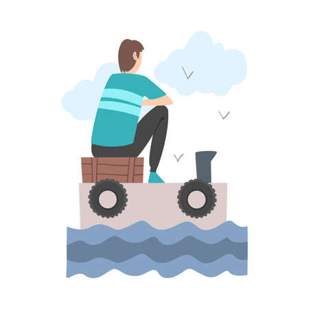 Male Sitting and Looking Ahead as into Bright Future Vector Illustration Vecteurs