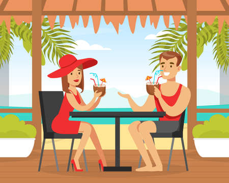 Man and Woman Characters in Beachwear Drinking Coconut Cocktails at Tropical Bar Vector Illustration
