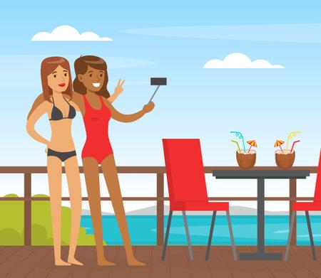 Two Woman Friends in Beachwear Taking Selfie with Their Smartphone Vector Illustration Vektorgrafik
