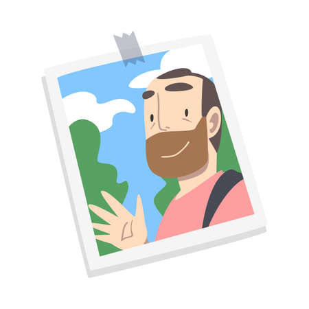 Photographic Print or Selfie Picture with Smiling Bearded Man Face on It Vector Illustration