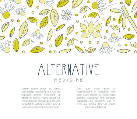 Alternative Medicine Banner with Space for Text, Homeopathy, Naturopathy, Ayurveda, Acupuncture, Holistic Medicine Poster, Flyer, Brochure Template Vector Illustration