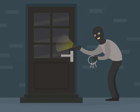 Male Burglar in Balaclava Committing Robbery, Theft Trying to Unlock Door with Lock Pick Breaking in House, Criminal Scene Flat Vector Illustration Illustration