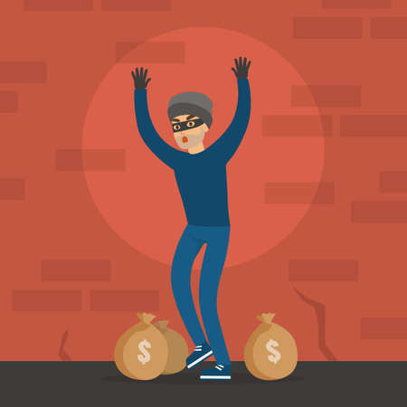 Male Thief Standing with his Hands Raised, Masked Burglar Stole Money, Robbery and Security Concept Flat Vector Illustration