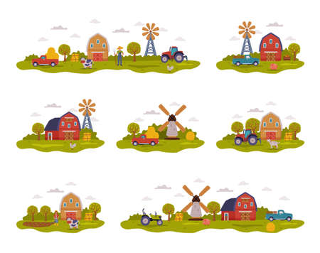 Farm Scenes Collection, Farm Buildings, Farmers, Agricultural Transport and Livestock, Summer Rural Landscape, Agriculture and Farming Concept Cartoon Style Vector Illustration