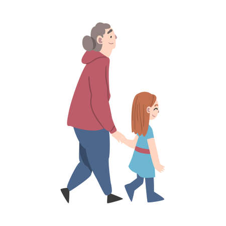 Grandma and Granddaughter Spending Pastime Time Together, Grandparent Walking with her Grandchild Cartoon Style Vector Illustration Vektorové ilustrace