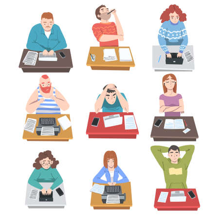 Professional Journalist at Desk Writing Article or Post on Laptop and Typewriter Vector Illustration Set