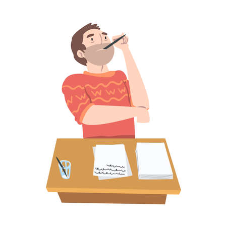 Man Journalist at Desk Thinking Over Topic for Article or Media Information Vector Illustration
